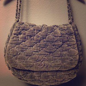 Quilted velvet Chanel handbag